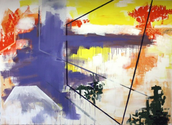 Composition in yellow and purple  [Acrylic on canvas. 144 x 200 cm. 2011. Sold.]