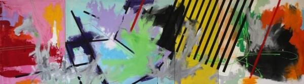 Hazard stripes  [Acrylic on canvas. 80 x 280 cm. 2013.]