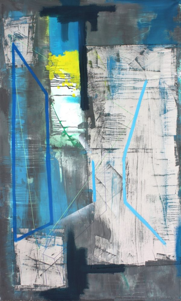 Composition in grey. [ Acrylic on canvas, 224 x 134 cm. 2010.]