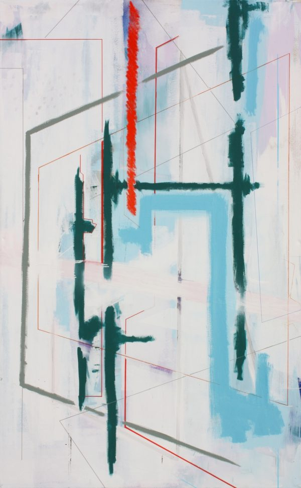 Composition white and blue. [Acrylic on canvas, 210 x 135 cm. 2010. Sold.]
