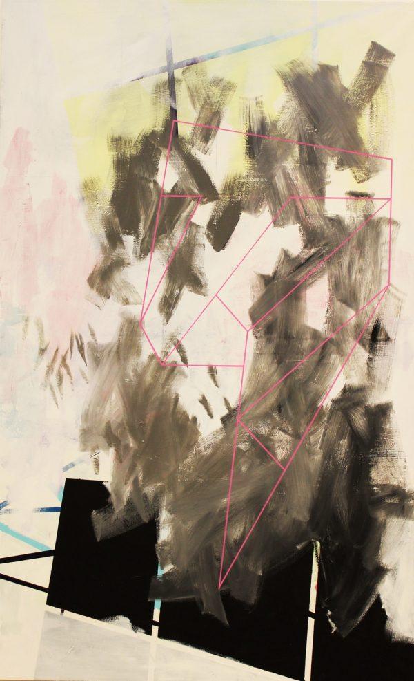 Pink line. [Acrylic on canvas. 200 x 125 cm. 2016.]